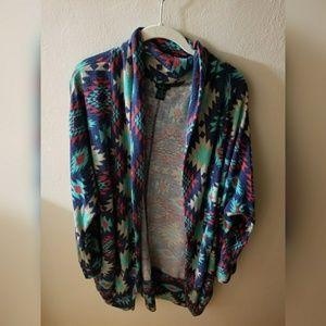 Aztec print cocoon sweater